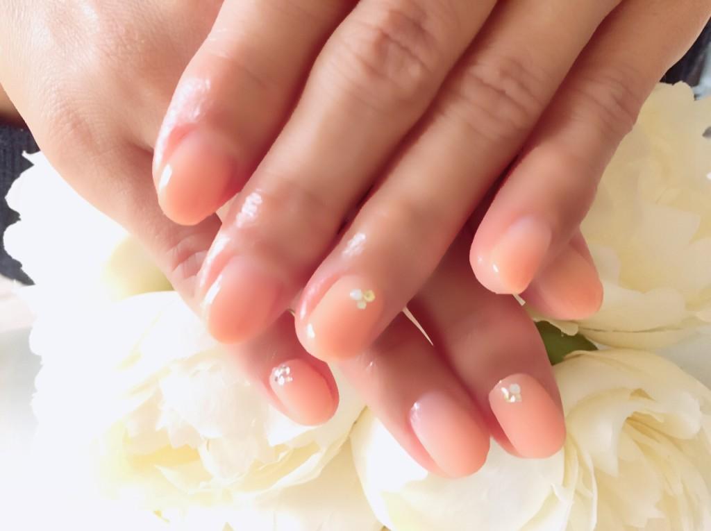 春オレンジのグラデ×ワンカラーMIXネイル