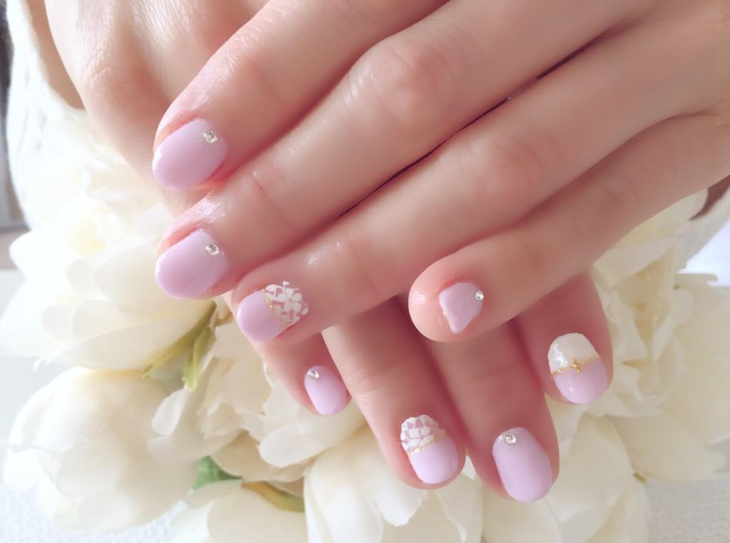 ピンクパープル&お花レースアート