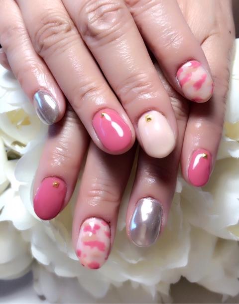 ピンク迷彩柄×ミラーネイル~芦屋ネイル・マツエクサロン
