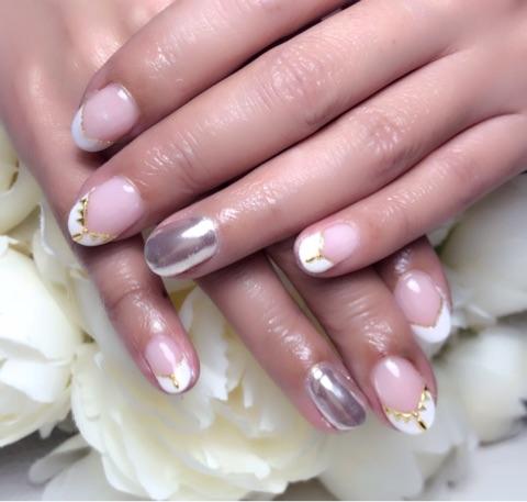 白フレンチ×ミラーネイル~芦屋ネイル・マツエクサロン