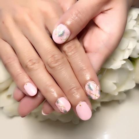 アーガイル×ふんわりピンク~芦屋ネイル・マツエクサロン